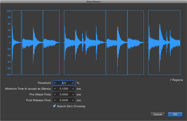 Logic Pro X Strip Silence Waveform view