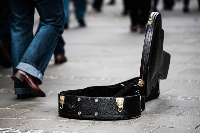 Guitar case on the street