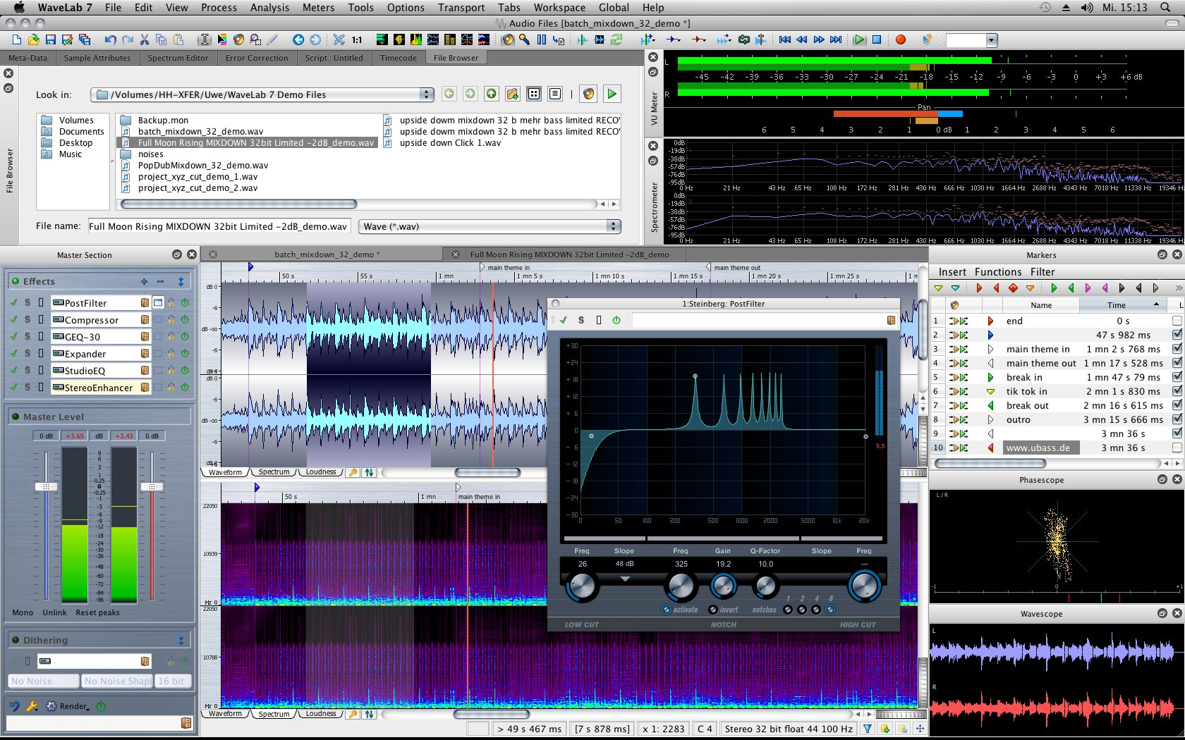Wavelab Screenshot -Choosing A Digital Audio Workstation (DAW)
